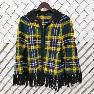 O/S poncho yellow green argyle plaid with fringe